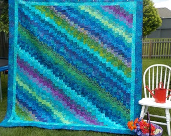 "Queen size Quilt, King size Quilt, Blue,Green, Purple Batik Quilt, 98"" x 99"" Quilt, Blue Lagoon"