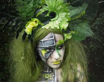 Tropical bright green forest headdress