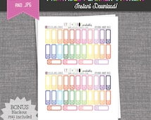 INSTANT DOWNLOAD Rainbow Appointment Quarter Box Planner Stickers - Printable Planner Stickers - Printables - PS021