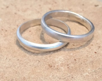 Stackable sterling silver rings, sterling silver bands, half-round and flat sterling silver rings, sterling silver rings, plain silver bands