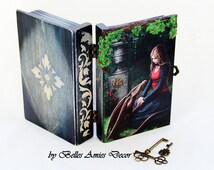 Wooden jewelry box book dragon, fantasy gift, gift for girls, teenage girl gift, gothic gift, cute gift for niece, birthday gift daughter