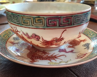 Detailed Unique Dragon Pattern -- Y.T.  Fine China Teacup and Saucer Set - Decorated in Hong Kong