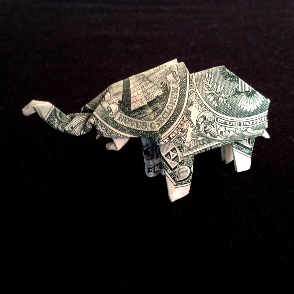 elephant money origami sculpture handmade of real by