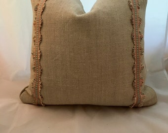 Flax Linen 20 Inch Feather Down Decorative Throw Pillow with Silk Scalamandre Ribbon Trim