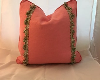 Bright Pink Peony Linen Decorative Feather Down Throw Pillow with Scalamandre Trim