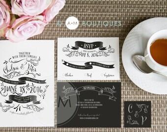 Wedding Invitation Set, Printable Invitations, Chalkboard wedding Invitation, CUSTOMIZED: CHELSEA Chalkboard V2