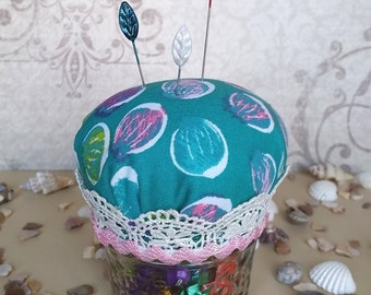 Cute Mason Jar Hijab Pin Cushion - Aqua Print