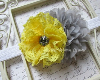 grey and yellow headband, lace flower headband, baby girl's flower headband, yellow headband, grey chiffon flower, yellow and grey hair bow