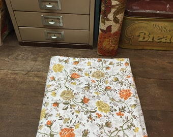 Vintage Sheet Linens Full/Double Flat Orange Floral