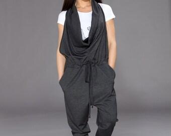 Harem Jumpsuit, Black Overall, Casual Jumpsuit, Womens Romper, Extravagant Clothing, Womens Jumpsuit, Black Jumpsuit, Loose Jumpsuit