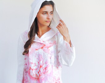 Hooded linen tunic, womens linen clothing, linen top with floral print, summer linen tunic with sleeves, casual linen tunic, linen blouse