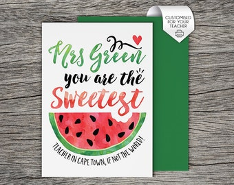 Teacher Card - Personalised Teacher Printable Card - Sweetest Teacher in Town