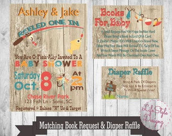 Fishing Baby Shower Invitation   They Reeled One In   Little Boy Baby Shower  Fisherman