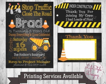 Construction Birthday Invitation - Loads Of Fun - Work Zone - Construction Party - Dump Truck Birthday - Yellow - Orange - Caution