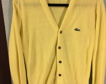 Vintage 70s Canary Yellow Lacoste Cardigan