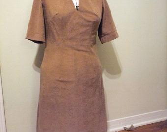 Interesting Homemade Vintage 80s Tan Microsuede Dress