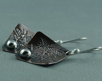 Hand stamped copper and sterling silver earrings, handmade, silversmith, metalsmith, artisan, argentium, rustic, organic