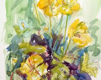 Original watercolour art, impressionist flower painting, yellow poppy painting, cottage garden flower, line and wash 24x32cm