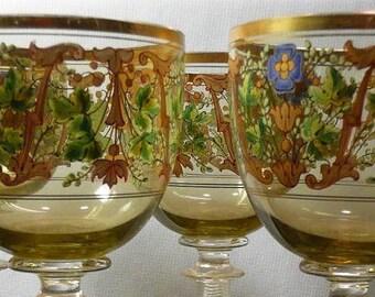 Set of four Bohemian wine Glasses