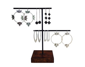 Staggered Earring display, earring stand, craft show display, store display, jewelry display, jewelry stand E105