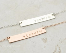 Sister Necklace, Personalized Bar Necklace / Custom Name/ Sister Necklace Handstamped / Bridesmaid necklace / Mothers Day Gift