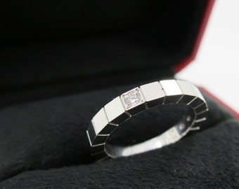 Size 52 ~ CARTIER LANIERES RING ~ 18kt White Gold with Diamond