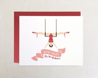 Woo Hoo! Trapeze Birthday Card // Circus Acrobat Gymnast Whimsical Hand Lettered Banner Flag White Pink Red Folded Card by Paper Pony Co.