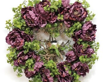 Purple Peony Wreath, Summer Wreath, Boxwood Wreath, Everyday Wreath, Front Door Wreaths, Farmhouse Decor, Wreath for Doors, Purple Peonies