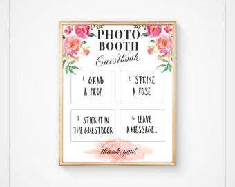 Wedding Photo booth Sign, Guest book Photo booth, Guestbook Sign, Instant Download, Floral Boho Guestbook Sign, 8x10- Ella