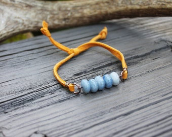 Blue Sodalite Stack Bracelet //  Friendship Bracelet // Mustard Yellow Deerskin Lace // made in Charleston, SC