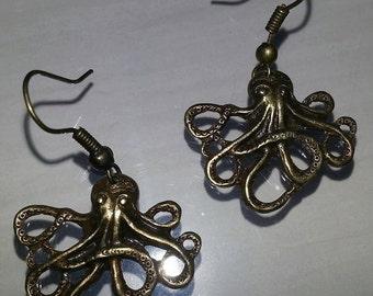 brass octopus earrings