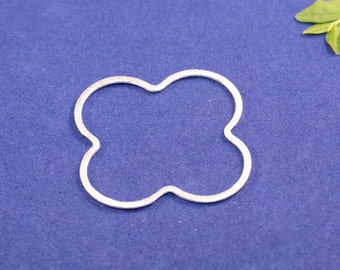 Silver Plated, E-Coated, Brushed Finish, Clover Rings, Earring Findings, 5 sizes 28mm, 35mm, 45mm, 50mm and 60mm (#30)
