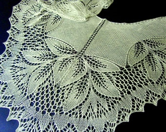 Gentiana Silk Lace Shawl. Hand Knitted Silk Shawl. Lace Stole. Openwork Shawl.  Made To Order. Lace Wrap