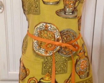 Vintage up-cycled full apron gold teapot shabby chic