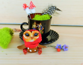 owl in tea cup cute polymer clay owl figurine vintage soviet cup toadstools strawberry moss bell flower