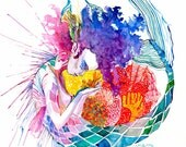 Colorful Mermaid Print
