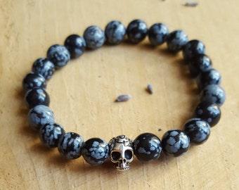 Obsidian Skull Bracelet Snowflake Obsidian Bracelet Stretch Bracelet Protection Bracelet Skull Bracelet Crystal Healing Yoga Jewelry