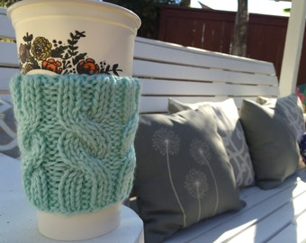 Mint Cable Knitted Coffee Cozy