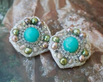 Glittering Aqua Agate Stone, Freshwater Pearl Statement Earrings; Marie Antoinette Earrings; Pastel Rococo Earrings; costume earrings