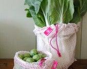Einkaufsnetze aus Bio-Baumwolle, 2er Set (L+M) in pink