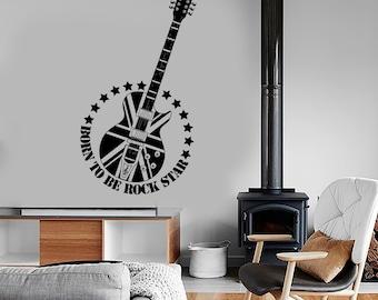 Wall Vinyl Music Guitar Rock Star England Flag Guaranteed Quality Decal 1696dz