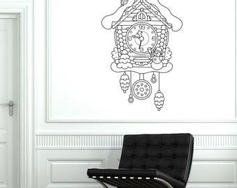 Wall Vinyl Fairytale Cuckoo-Clock Watch For Bedroom Mural Vinyl Decal 1777dz