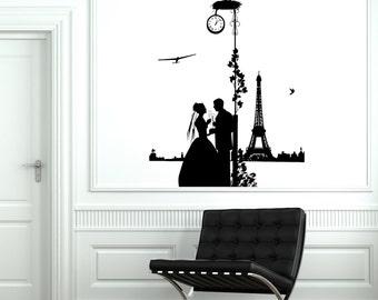 Wall Decal Paris France Vacation Flower Heart Romantic Vinyl Decal Sticker 1814dz