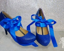 Shoes ~ Blue low heels, Choose your size ~ Wedding, Bridesmaid, Mother of the Bride, Graduation, Prom, Party, Pageant, Beauty Queen, Hen Do