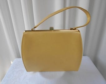 Vintage Pearlescent Yellow Kelly Purse Handbag 1960's  #20020