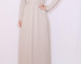 Long beige dress Women maxi dress with sleeves