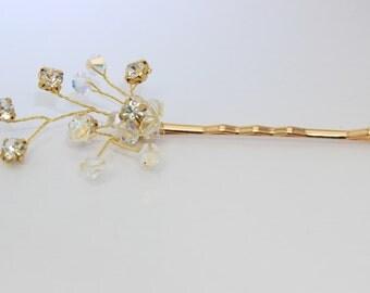 3 gold bridal hair pins, gold wedding hair slides, bridesmaid hair pins, bridal hair accessories, flower hair slides, wedding hair pins,