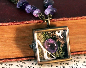 Real Bones & Faceted Amethyst in Glass Shadow Box Necklace