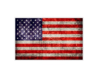Antique American Flag Sticker, 4 Sizes Available
