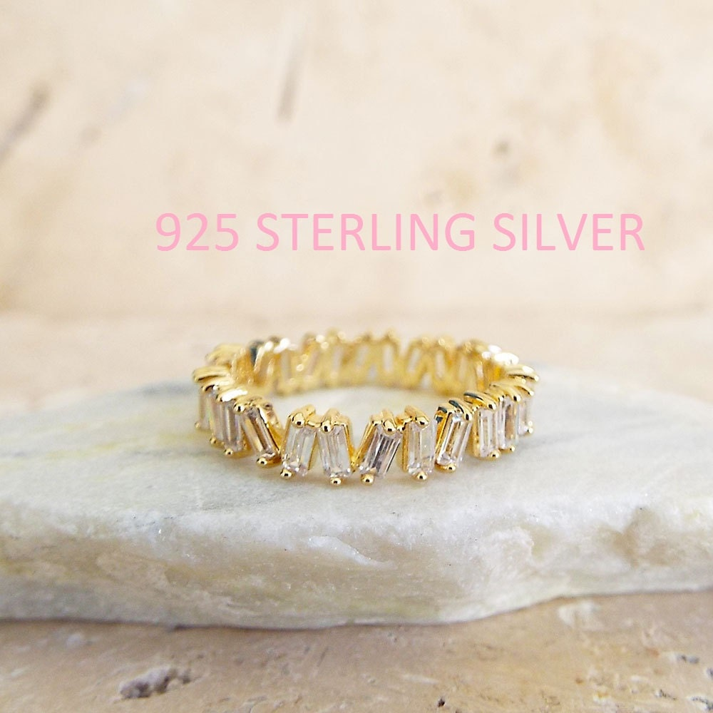 Diamond Baguette Eternity Gold Band Stacking ring CZ diamonds 4 mm ring unique Sterling Silver plated gold Gift for wife gift for girlfriend